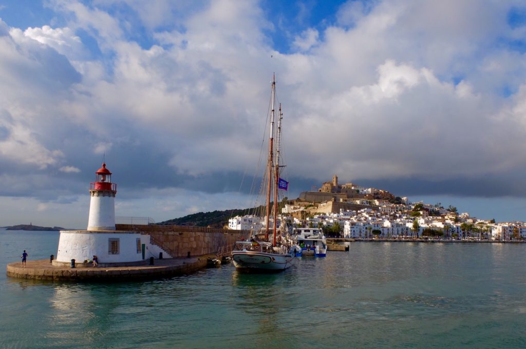 Ibiza Town and lighthouse from Ferry