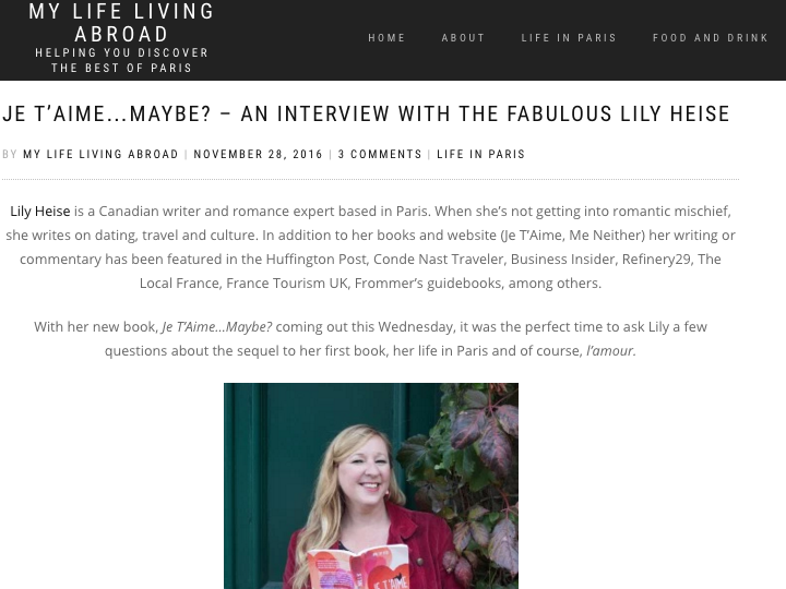 Interview of Lily for the Blog My Life Living Abroad