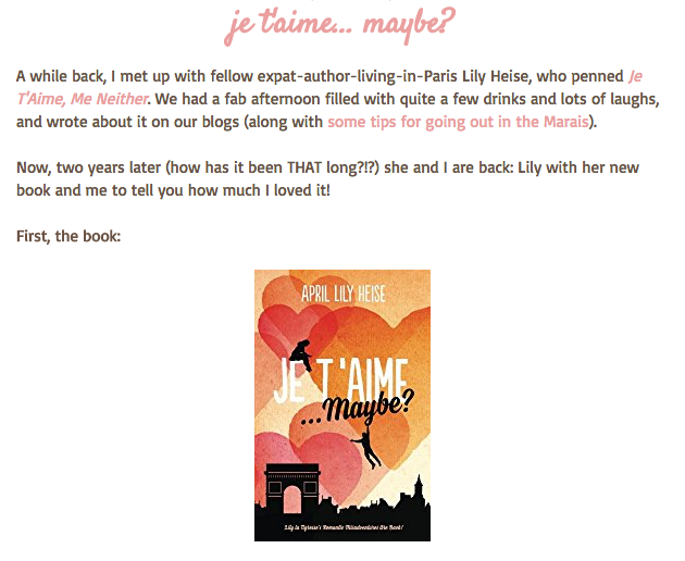 Je T'Aime Maybe and Extract Vicki Lesage Blog